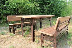 Набор садовой мебели, материал основы - дуб, 150см, цвет черный/коричневый