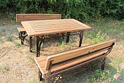Набор садовой мебели, материал основы - дуб, 150см, цвет черный/коричневый, фото 2