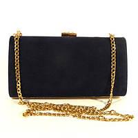 Клатч-бокс сумочка замшевая женская синяя 8119-1, фото 1