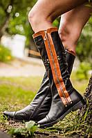 Сапоги М-12 черные сапоги из натуральной кожи c рыжими вставками