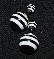 """Серьги """"Полосатые шарики"""""""", черные , пластик, (55/25) (цена за 1шт. +30 грн)"""