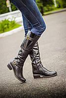 Сапоги кожаные высокие черного цвета  М50