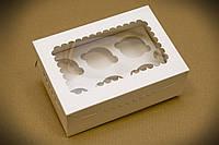 Коробка для капкейков белая с окошком, на 6 кексов. мелованный картон