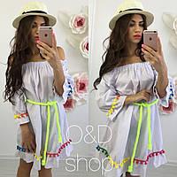 """Женское модное платье """"Морокко"""" с открытыми плечами и под поясок (3 цвета)"""