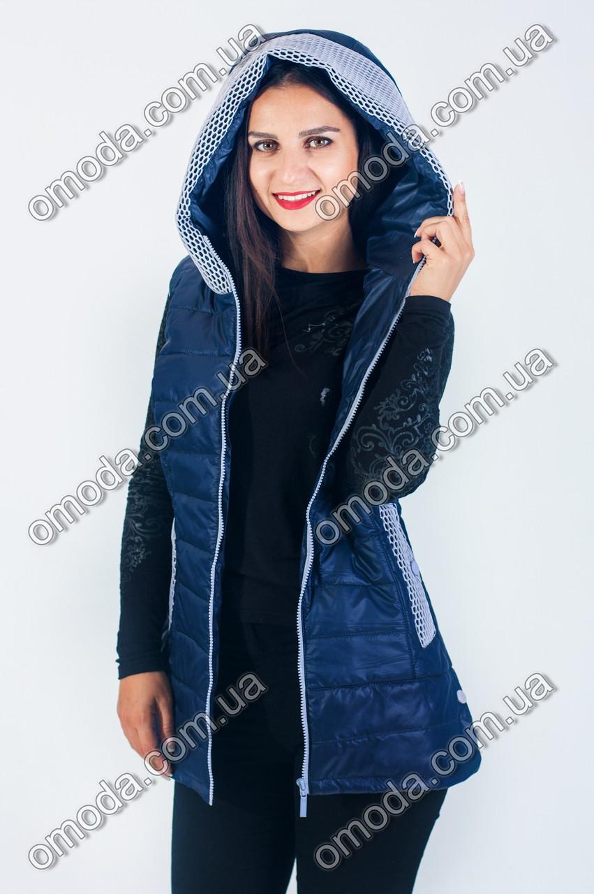 Красивый женский удлиненный жилет синяя