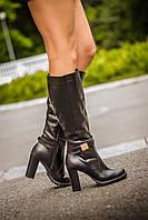 Сапоги высокие из натуральной кожи на высоком устойчивом каблуке  М422