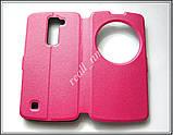 Розовый чехол LG K10 K430 K410, чехол-книжка, эко кожа, фото 3