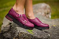 Туфли  Т-1669 из натуральной кожи бордового цвета