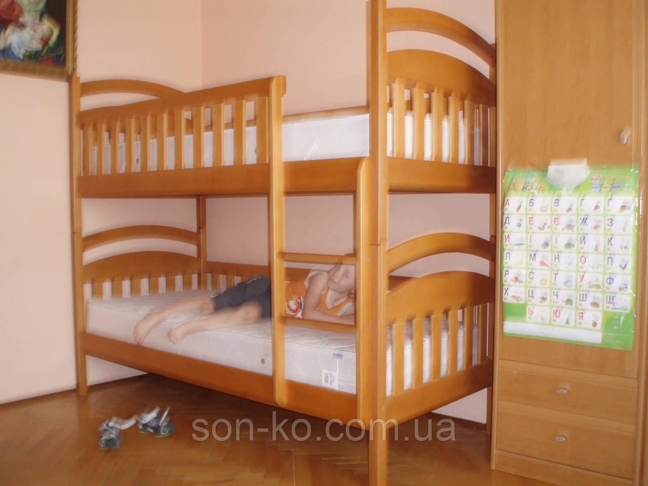 Двоярусне ліжко з масиву буку Дем'ян