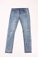 Молодежные джинсы с рваными коленями украшены жемчугом, размеры: M,L,XL,XXL