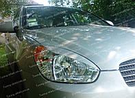 Реснички Хендай Акцент 3 (накладки на передние фары Hyundai Accent 3)