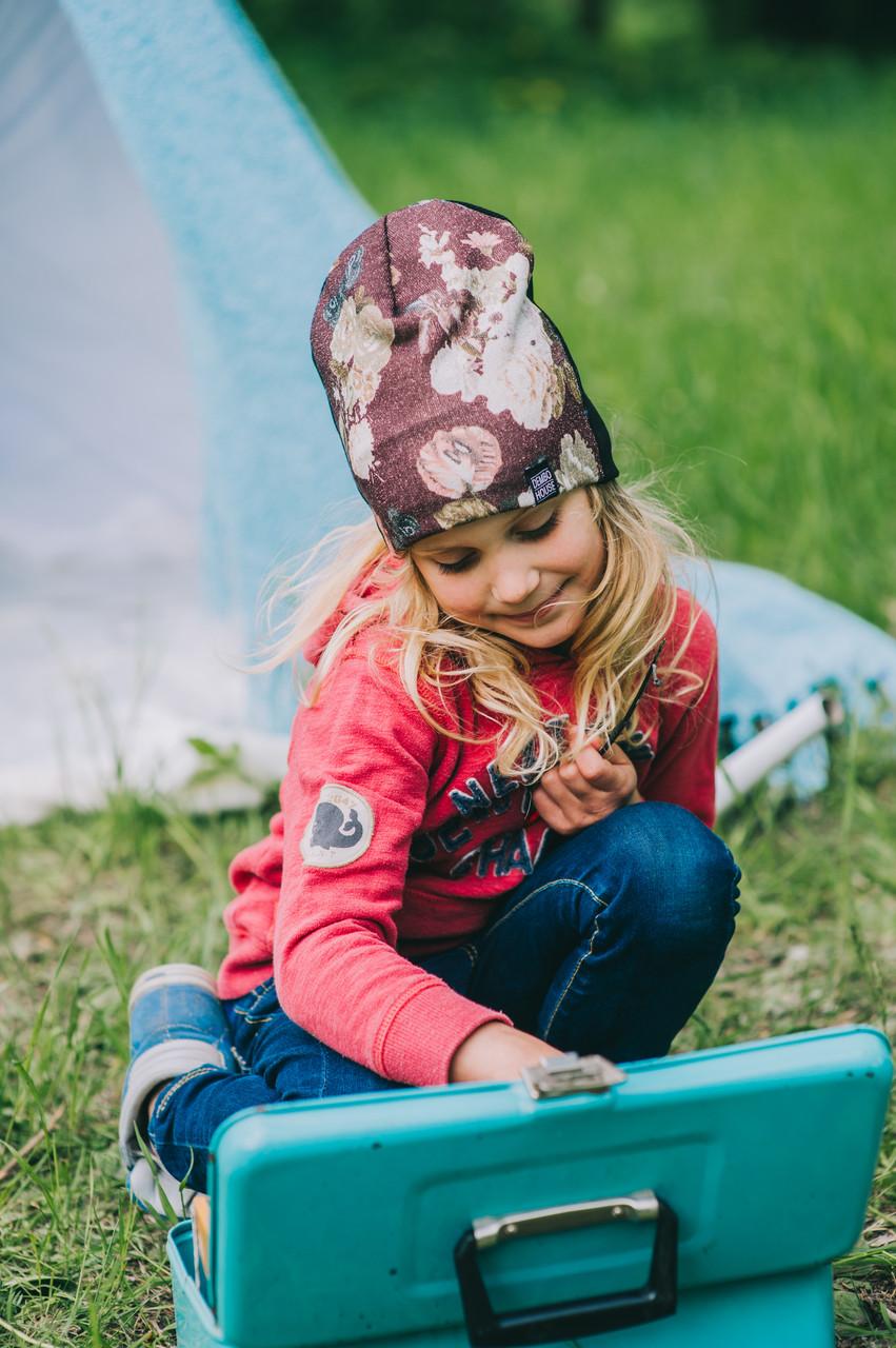 Детская шапка (двухсторонняя) ФРИДА для девочек оптом размер 50-52-54