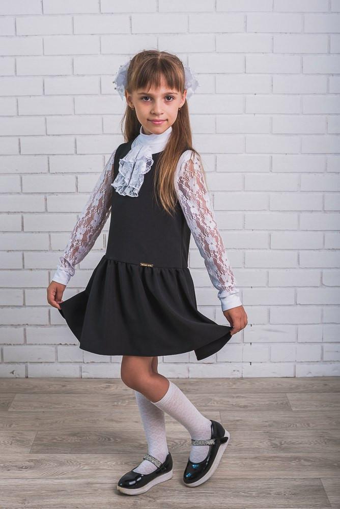 Школьный сарафан для девочки  с занниженой талией
