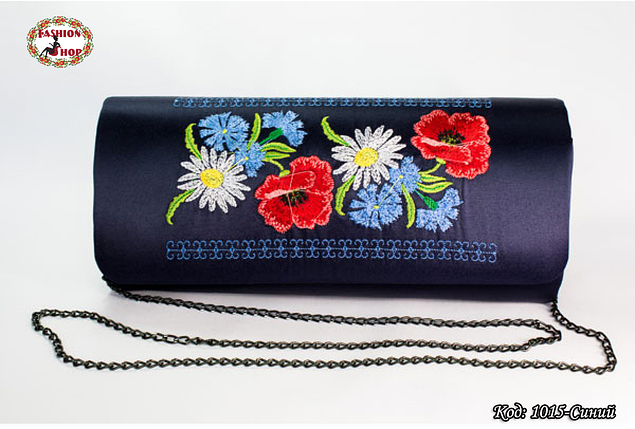 Вышитый синий клатч Васильки, фото 2