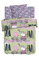 Детское полуторное постельное белье Велопрогулка Свинка Пеппа 100% хлопок Peppa Pig