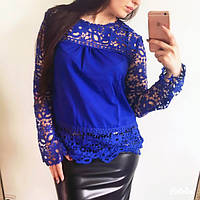 Блузка гипюровая синяя