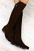Модные  замшевые сапоги коричневого цвета. Еврозима