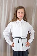 Нарядная белая школьная блуза с поясом для девочки, Польша