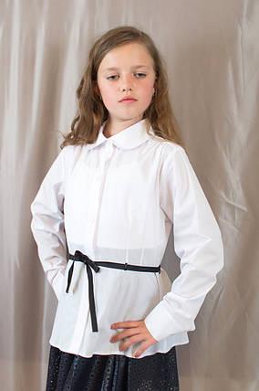 Нарядная белая школьная блуза с поясом для девочки, Польша, фото 2