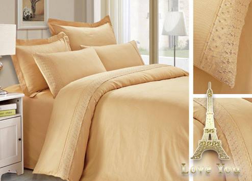 Комплект постельного белья Полуторный Сатин с кружевом 160Х220  беж 13-1108, фото 2