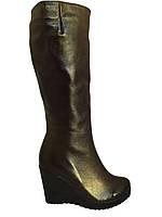 Кожаные женские сапоги на танкетке,коричневые