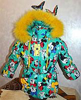 Зимний комбинезон +куртка мята 2-3,3-4,4-5, 5-6 лет натуральная опушка