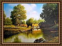 Картина в багетной раме Заводь у деревушки 300х400мм №332