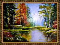 Картина Осенний лес. 300х400мм. №335 в багетной рамке