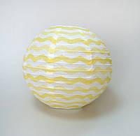 Шар Плиссе шеврон для праздника 30 см,. Желтый