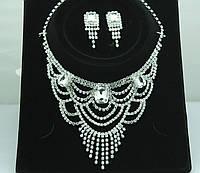 Свадебное ожерелье и серьги в комплекте. Свадебные украшения оптом. 104