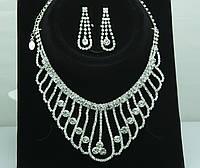 Королевские серьги и ожерелье -комплект свадебной бижутерии. Украшения оптом для невест. 107