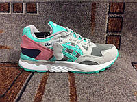 Женские повседневные кроссовки ASICS Gel Lyte V бирюзово розовые с серым