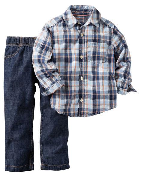 Джинсы + Рубашка Carters. 12 мес 72-78 см. Набор из 2-х частей
