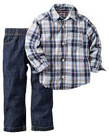 Джинсы + Рубашка Carters. 12 месяцев 72-78 см. Набор из 2-х частей