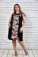 Женское платье-туника на лето 0318 цвет красные цветы до 74 размера / больших размеров для полных женщин