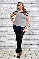 Женская блуза короткий рукав 0315 цвет серый до 74 размера