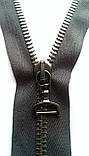 Молния металлическая 75 см серая тесьма полировка черное звено два бегунка!, фото 3