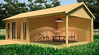 Летний дачный  домик из бруса верандой