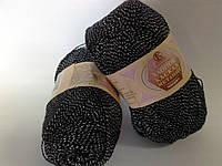 Камтекс Хлопок каскад 100г/375м черный с серебром