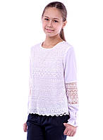 Нарядная школьная блузка для девочки Ажур