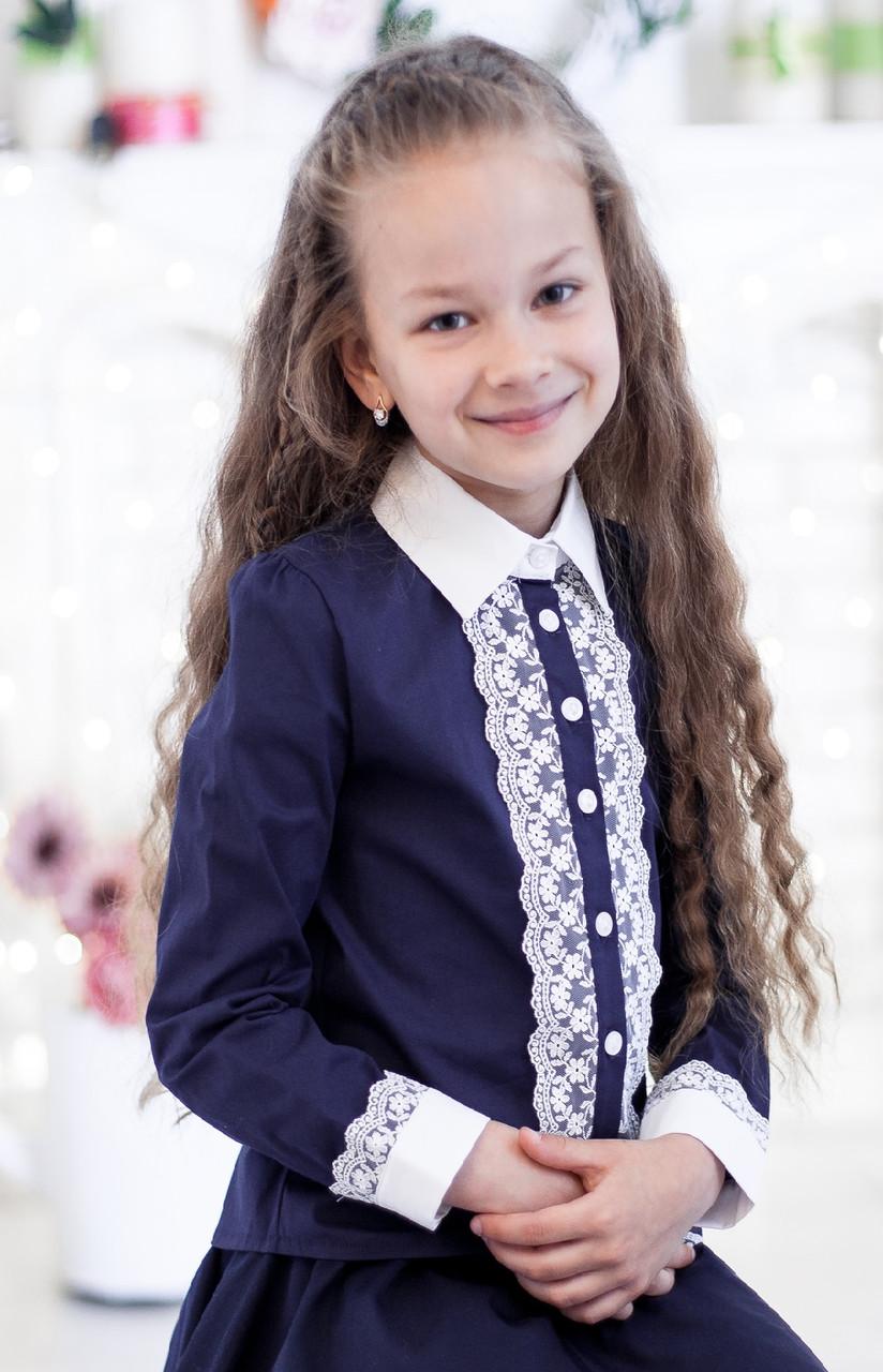 Блузка школьная синяя с белым кружевом 152