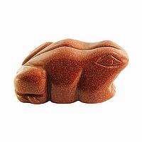 Статуэтка лягушки авантюрин золотой песок