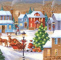 Салфетка декупажная Санта привёз подарки 5965