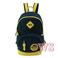 Рюкзак для девочки подростка, темно-зеленый с желтым