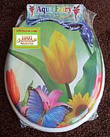 """Сиденье мягкое с крышкой для унитаза Aqua Fairy """"Тюльпан с бабочкой"""""""