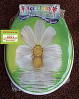 """Сиденье мягкое с крышкой для унитаза Aqua Fairy """"Цветок в воде"""""""