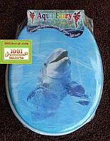 """Сиденье мягкое с крышкой для унитаза Aqua Fairy """"Дельфинчик"""""""
