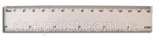 Линейка пластмасовая, 15 см, прозрачная, фото 2