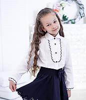 Красивая школьная блузка с рельефным декором , фото 1