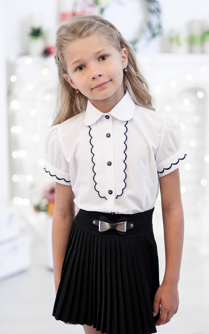 Блузка школьна с рельефным декором 5010к 152